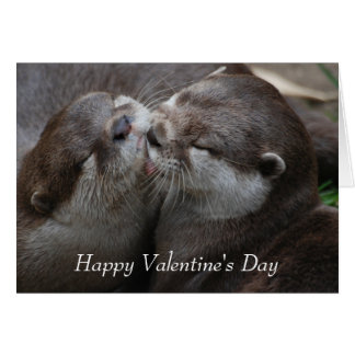 Two Adorable Otters - Happy Valentine's Day Card