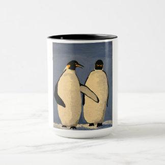 Two adult emperor penguins talking mug
