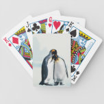 Two affectionate penguins bicycle playing cards