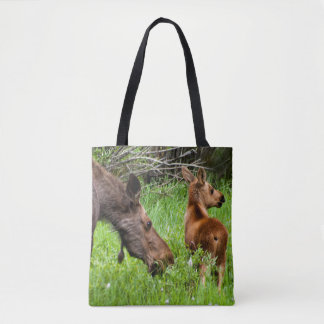 Two Alert Moose Mother And Baby Tote Bag