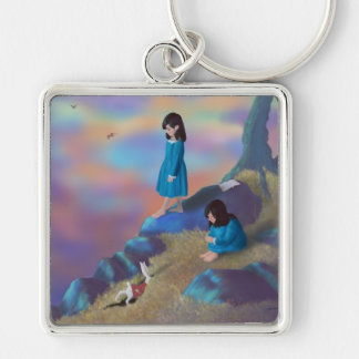 Two Alices and White Rabbit Keychain