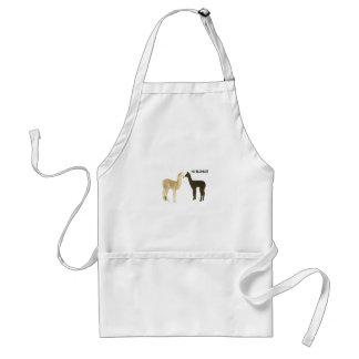 Two alpaca crias meet adult apron