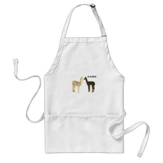 Two alpacas meet adult apron