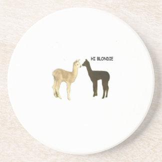 Two alpacas meet drink coaster