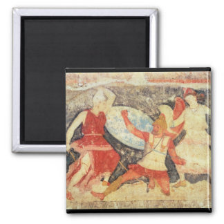 Two Amazons in combat with a Greek 2 Inch Square Magnet