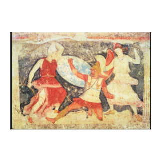 Two Amazons in combat with a Greek Canvas Print