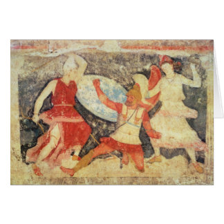 Two Amazons in combat with a Greek Greeting Card