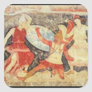 Two Amazons in combat with a Greek Square Sticker