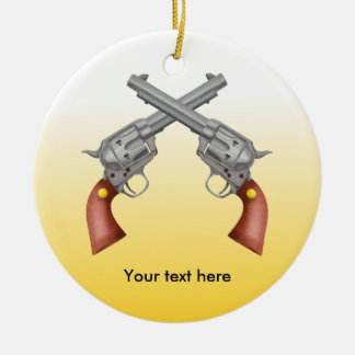 Two American Old West Pistols Crossed Ceramic Ornament