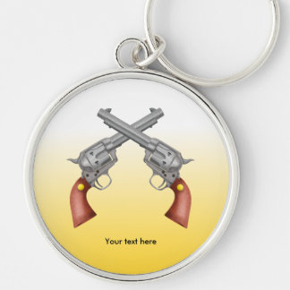 Two American Old West Pistols Crossed Keychain