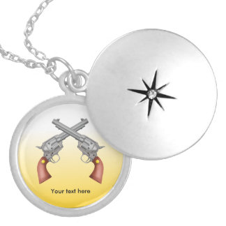 Two American Old West Pistols Crossed Locket Necklace