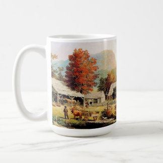 Two Americana Country Paintings Horses Mug