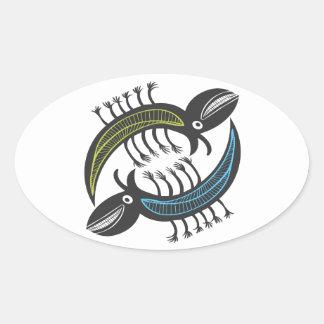 Two Amusing fantasy beastys Oval Sticker