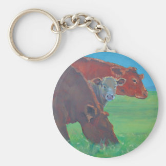 Two and a half cows basic round button keychain