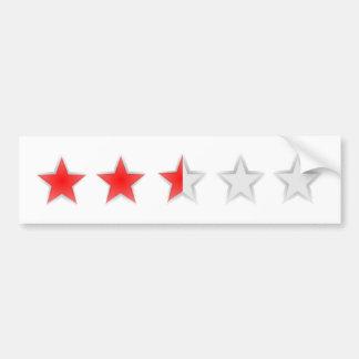 Two and a half stars white car bumper sticker