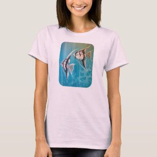 Two angel fish with silver and black and blue T-Shirt
