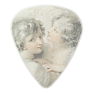 Two angels, 18th century acetal guitar pick