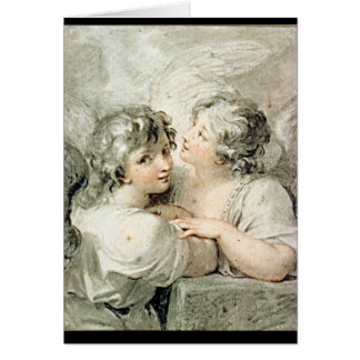 Two angels, 18th century card