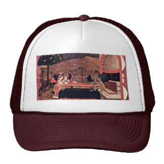 Two Angels And Two Devils Argue Before An Altar To Trucker Hat