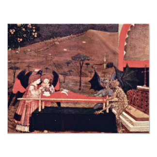 Two Angels And Two Devils Argue Before An Altar To 4.25x5.5 Paper Invitation Card
