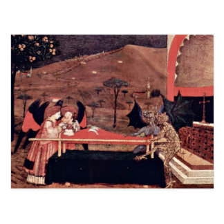 Two Angels And Two Devils Argue Before An Altar To Postcards