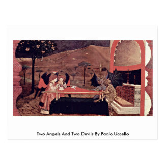 Two Angels And Two Devils By Paolo Uccello Post Card