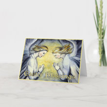 Two Angels - Easter Blessings Card - Send this beautiful Easter card, featuring original watercolour of two angels in prayer, to friends or family this Easter. Text on front says 'Easter Blessings' and lovely verse inside.