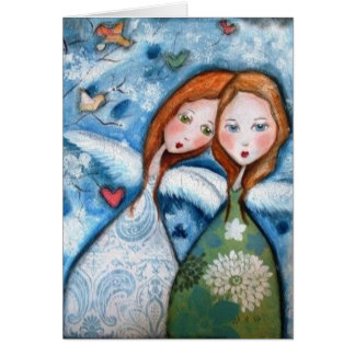 two angels in the garden card