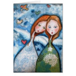 two angels in the garden greeting card