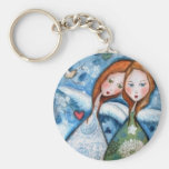 two angels in the garden key chains