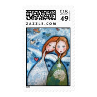 two angels in the garden postage