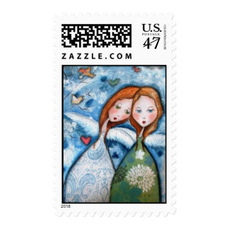 two angels in the garden stamp