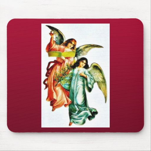 Two angels one holds christmass tree and the other mouse pad