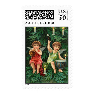 TWO ANGELS PLAYING MUSICAL INSTRUMENTS IN A TREE POSTAGE
