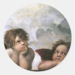 Two Angels, Raphael Vintage Fine Art Stickers