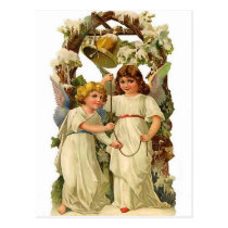 Two angels ringing a bell, vintage holiday postcard