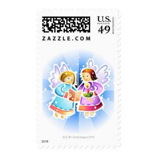 Two angels singing postage stamps
