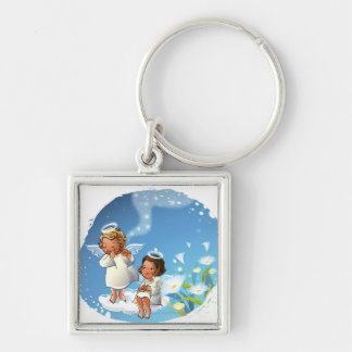 Two angels sitting on the clouds Silver-Colored square keychain