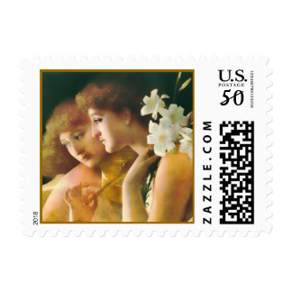 Two Angels with Lilies Fine Art Postage