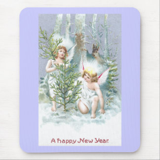 Two Angels with Pine Trees and Deer Mouse Pad
