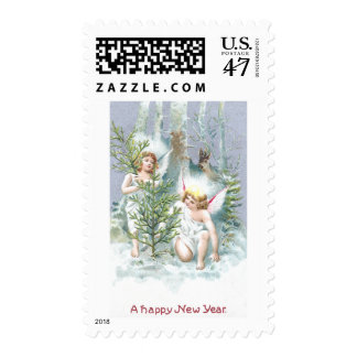 Two Angels with Pine Trees and Deer Stamp