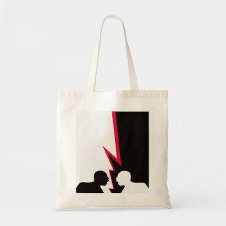 Two angry men shouting tote bag