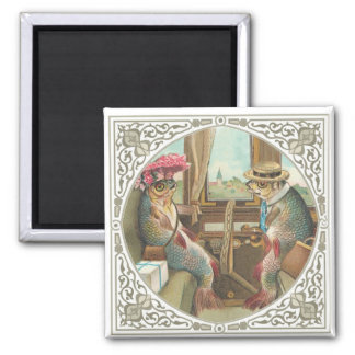 Two Anthropomorphic Fish on a Train 2 Inch Square Magnet