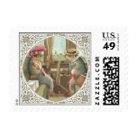 Two Anthropomorphic Fish on a Train Postage Stamp