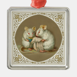 Two Anthropomorphic Mice Reading Metal Ornament