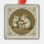 Two Anthropomorphic Mice Reading Square Metal Christmas Ornament