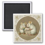 Two Anthropomorphic White Mice Reading Paper Refrigerator Magnet