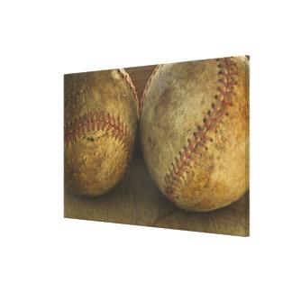 Two antique baseballs canvas print