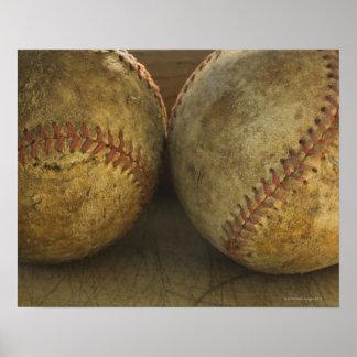 Two antique baseballs poster