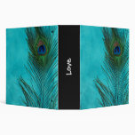 Two Aqua Peacock Feathers 3 Ring Binders